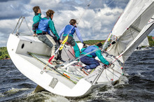 Sailing Yacht Race, Regatta. Recreational Water Sports, Extreme Sport Action. Healthy Active Lifestyle. Summer Fun Adventure. Hobby