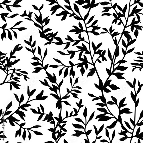 Poster Floral black and white seamless pattern branches silhouette