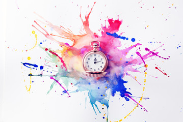 Pocket watch on the paint