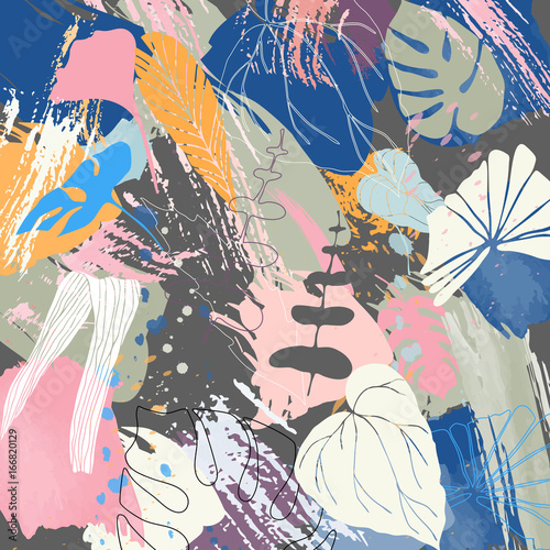 Floral vector background with  tropical leaves and abstract paint  brush strokes. © dinadankersdesign