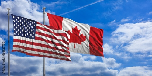 Canada and America waving flags on blue sky. 3d illustration