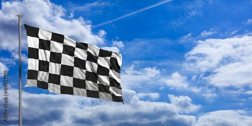 Staande foto F1 F1 waving flag on blue sky. 3d illustration