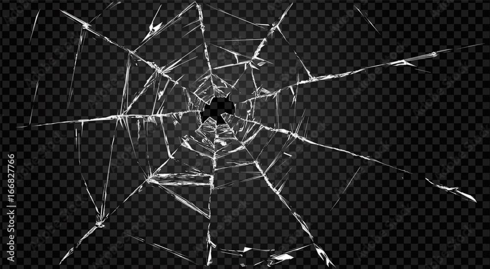 Fototapeta broken transparent glass with hole in it.