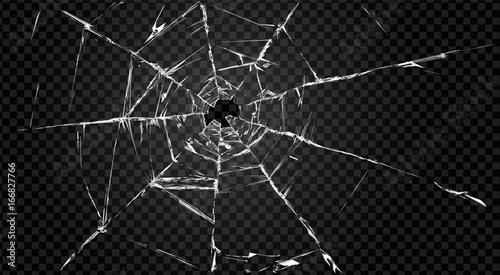 broken transparent glass with hole in it. - fototapety na wymiar