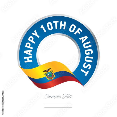 happy 10th august ecuador flag color label logo icon buy this