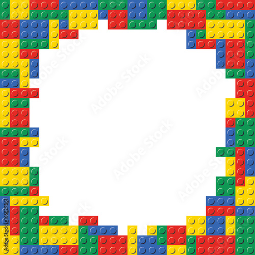 Fotografie, Obraz  Lego Building Block Brick Frame Background Pattern