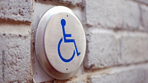Push To Open Disabled Button  in Montreal Canvas Print