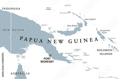 Obraz na plátně Papua New Guinea political map with capital Port Moresby