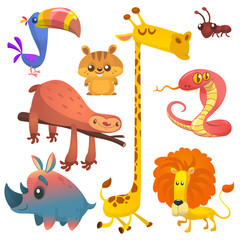 Naklejka Do przedszkola Cartoon african jungle animals. Vector illustrations of toucan, sloth, giraffe, chipmunk, ant, rhino and lion