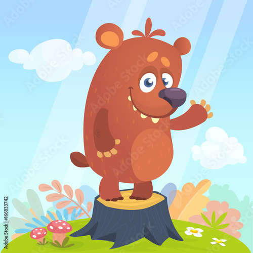 Poster de jardin Zoo Cartoon little bear standing on tree stump in summer season background with flower and mushrooms. Vector illustration isolated