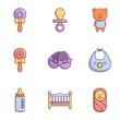 Newborn baby icons set, flat style