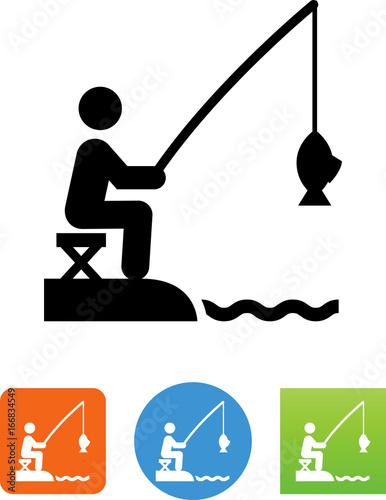 Lake Fishing Icon - Illustration Canvas Print