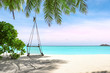 Leinwanddruck Bild - View of beach with swing at tropical resort