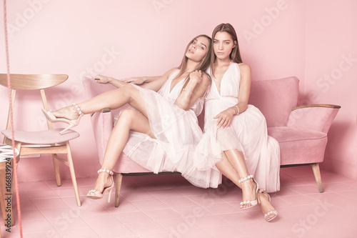 Fashionable twins sisters posing on pink background. Canvas Print