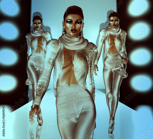 Catwalk and runway scene with beautiful female 3d models, no