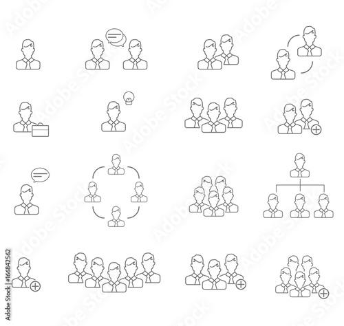 Fotografía  People line icon vector illustration set