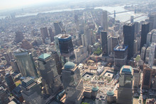 The 911 Memorial And The Construction Site Of The One World Trade Center In New York City In 2011