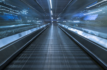 Moving Walkway At Airport In Shenzhen,China.
