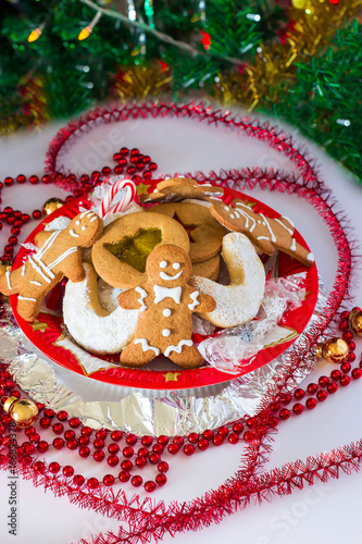 Christmas Composition Homemade Xmas Cookies Gingerbread Man On