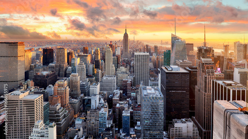 mata magnetyczna New York city at sunset, USA