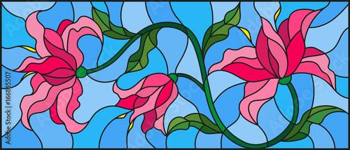 llustration-w-stylu-witrazu-z-kwiatow-lisci-i-pakow-rozowych-lilii-na-ni