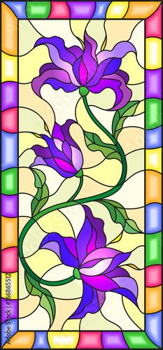 ilustracja-w-stylu-witrazu-z-kwiatow-lisci-i-paki-fioletowy-lilie-na-zoltym