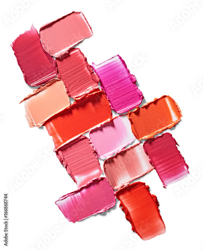 Set of lipstick stroke isolated on white background Wall mural