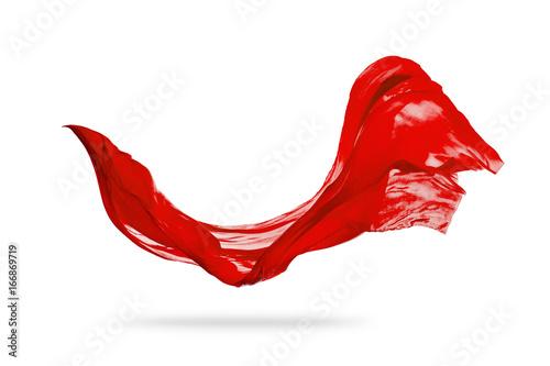 Fotografie, Obraz  Smooth elegant red cloth isolated on white background