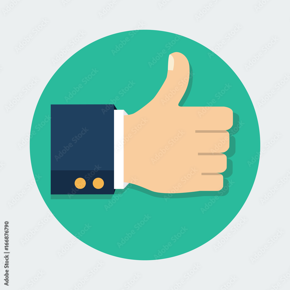 Fototapety, obrazy: Thumb Up vector icon. Isolated on a background. Like symbol. Vector illustration