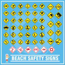 Set Of Signs And Symbols Of Beach Safety Warning, Safety Signs For Use As Beach Safety Rules, Create In New Design And Easy For People To Understand.