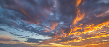 Fiery Sunset, Colorful Clouds In The Sky