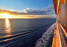 Trip Across The Ocean At Sunset