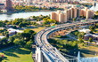Aerial view of the Triborough Bridge on Randall's Island in NYC