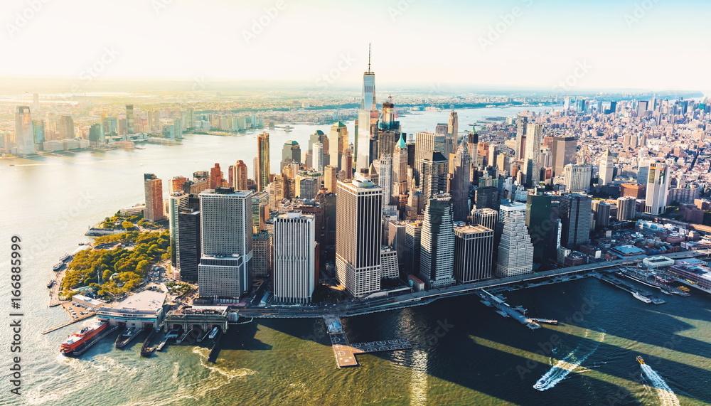 Fototapeta Aerial view of lower Manhattan NYC