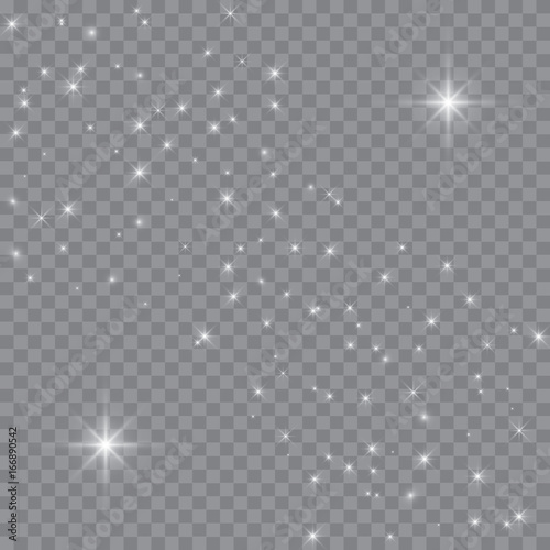 Obraz Vector white glitter wave abstract illustration. White star dust trail sparkling particles isolated on transparent background. Magic concept. - fototapety do salonu