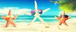 Schöner Strand mit Seesternen - Urlaub Konzept