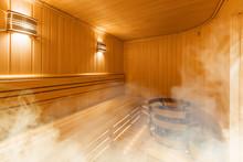 Interior Of Finnish Sauna, Cla...