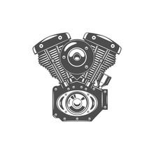 Monochrome Illustration Of Motorcycle Engine