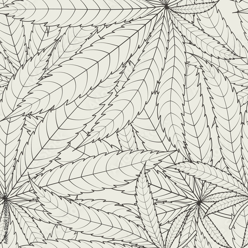Cannabis leafs - seamless pattern. Vector illustration