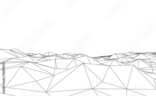 abstract futuristic 3d map 3d space landscape background vector