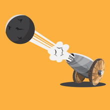 Cartoon Cannon And Cannon Balls. Vector Illustration.