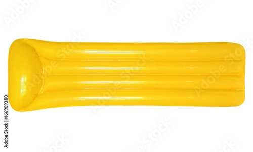Obraz na plátně Yellow inflatable floating pool raft mattress isolated on white background