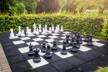 Large Outdoor Chess Game On A Garden Terrace