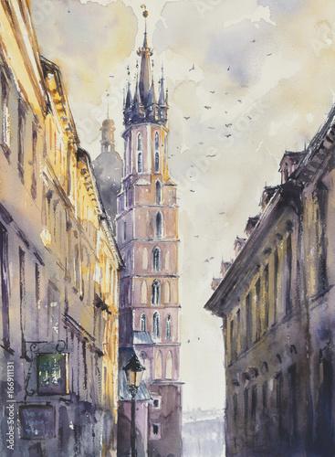 ulica-florianska-na-starym-miescie-krakow-z-miariackim-kosciolem-w-tle-o