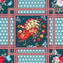 Vintage Pattern With Cute Peacock, Ornamental Borders, Flowers And Polka Dot Pattern. Ethnic Motives.