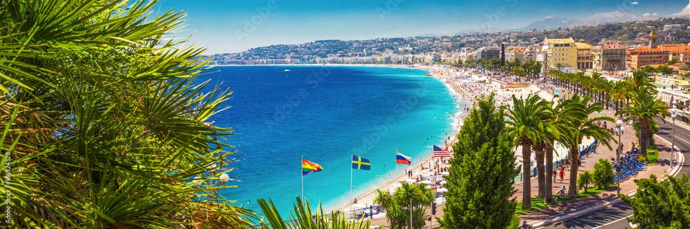 Fototapeta Beach promenade in old city center of Nice, French riviera, France, Europe.
