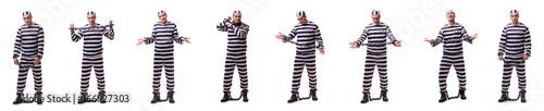 Man prisoner isolated on white background Fototapet