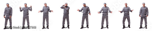 Fotografering Man prisoner isolated on white background