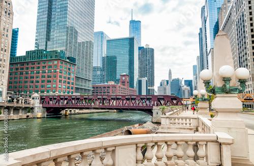 Zdjęcie XXL Chicago w centrum ulic miejskich widok, Illinois, USA