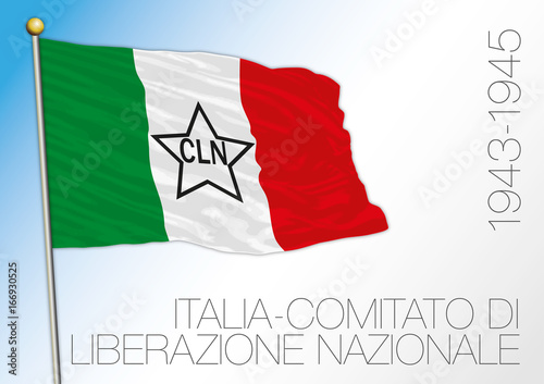 Poster  Italy, historical flag of the CNL, 1943 - 1945